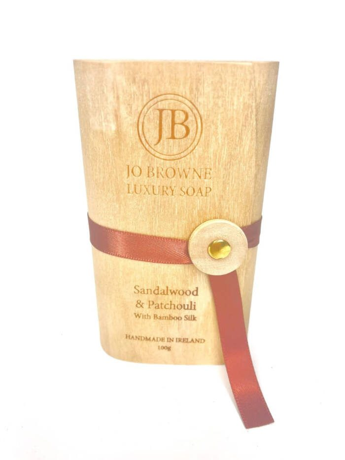 Jo Browne Luxury Soap Sandalwood & Patchouli Packaging