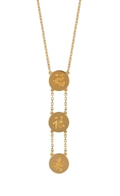 Three Lucky Stars Drop Necklace Gold