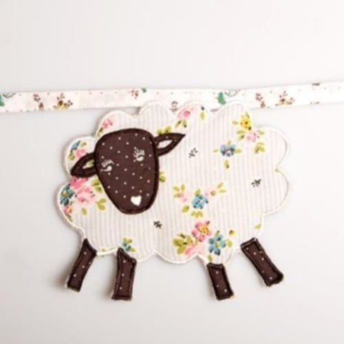 Sass Belle Fabric Bunting Sheep