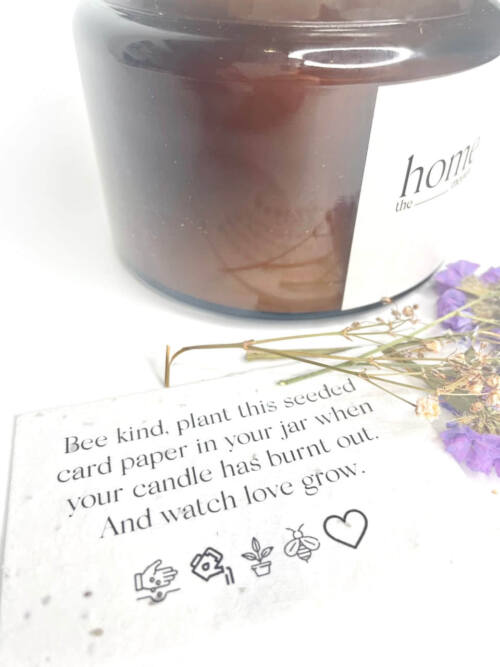 The Home Moment Artisan Soy Candle - Amber Fragrance Seeded Card