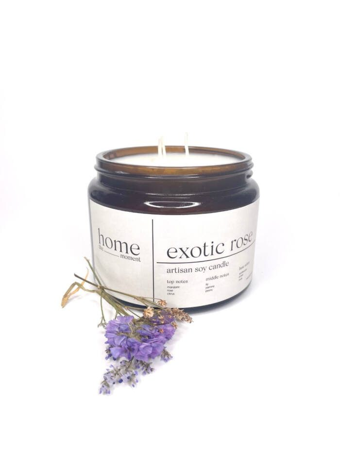 The Home Moment Artisan Soy Candle - Exotic Rose Fragrance
