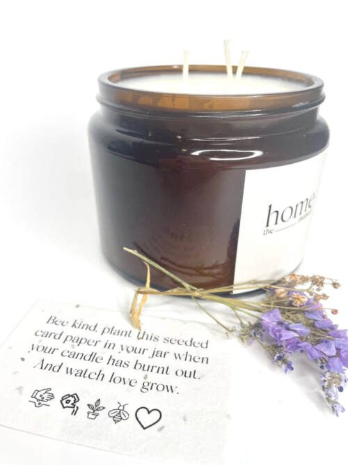 The Home Moment Artisan Soy Candle - Exotic Rose Fragrance Seeded Card